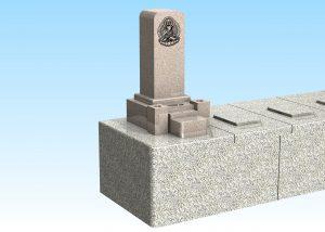 ピンク系御影石のお石碑です。
