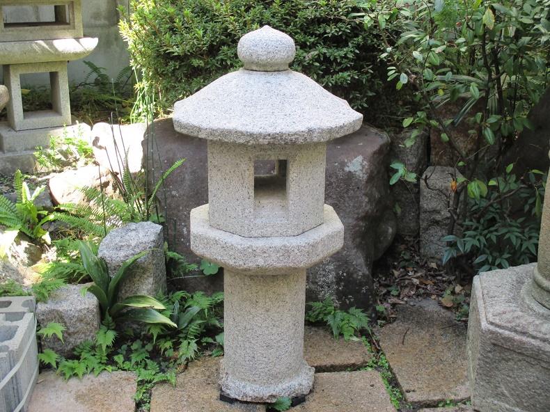 octagon shaped Japanese stone lantern